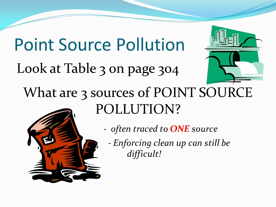 Point Source Pollution Look at Table 3 on page 304 What are 3 sources of POINT SOURCE POLLUTION.