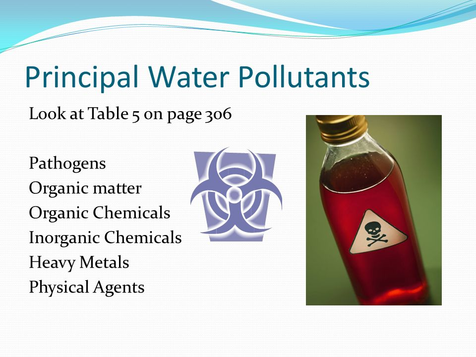 Principal Water Pollutants Look at Table 5 on page 306 Pathogens Organic matter Organic Chemicals Inorganic Chemicals Heavy Metals Physical Agents
