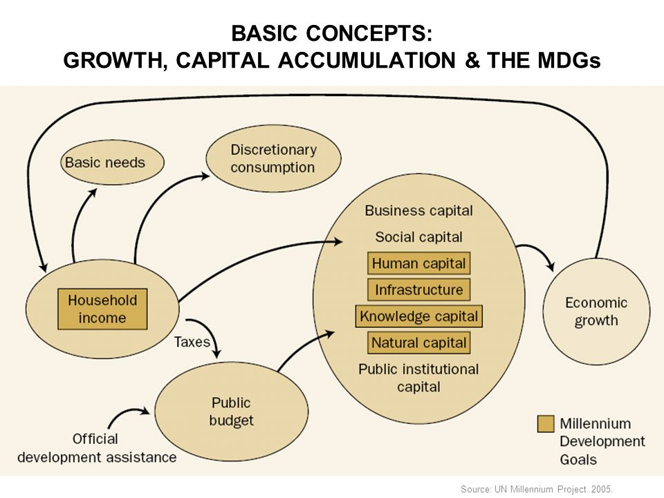 BASIC CONCEPTS: GROWTH, CAPITAL ACCUMULATION & THE MDGs Source: UN Millennium Project