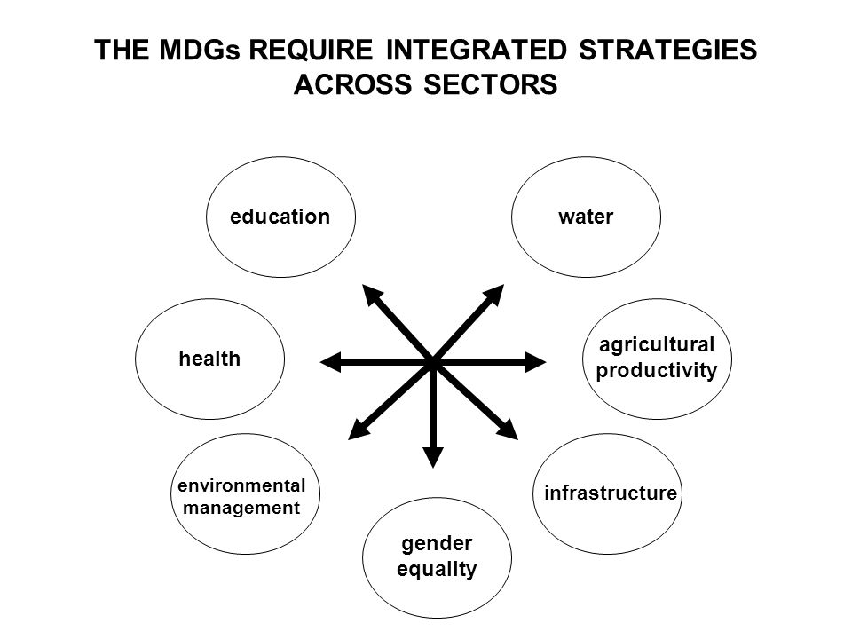 THE MDGs REQUIRE INTEGRATED STRATEGIES ACROSS SECTORS health infrastructure agricultural productivity watereducation gender equality environmental management