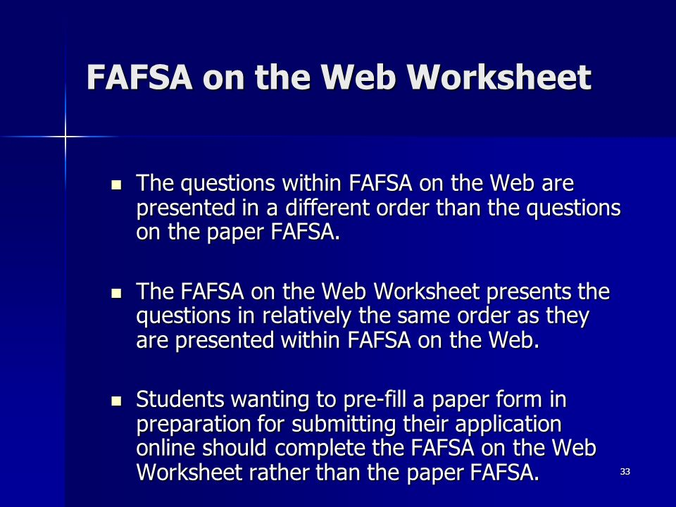 Worksheet Fafsa On The Web Worksheet financial aid workshop night the theatre arts 32 before beginning a fafsa on web worksheet web