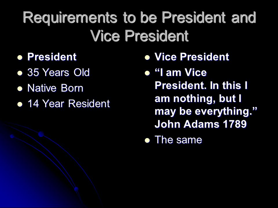 Requirements to be President and Vice President President President 35 Years Old 35 Years Old Native Born Native Born 14 Year Resident 14 Year Resident Vice President Vice President I am Vice President.
