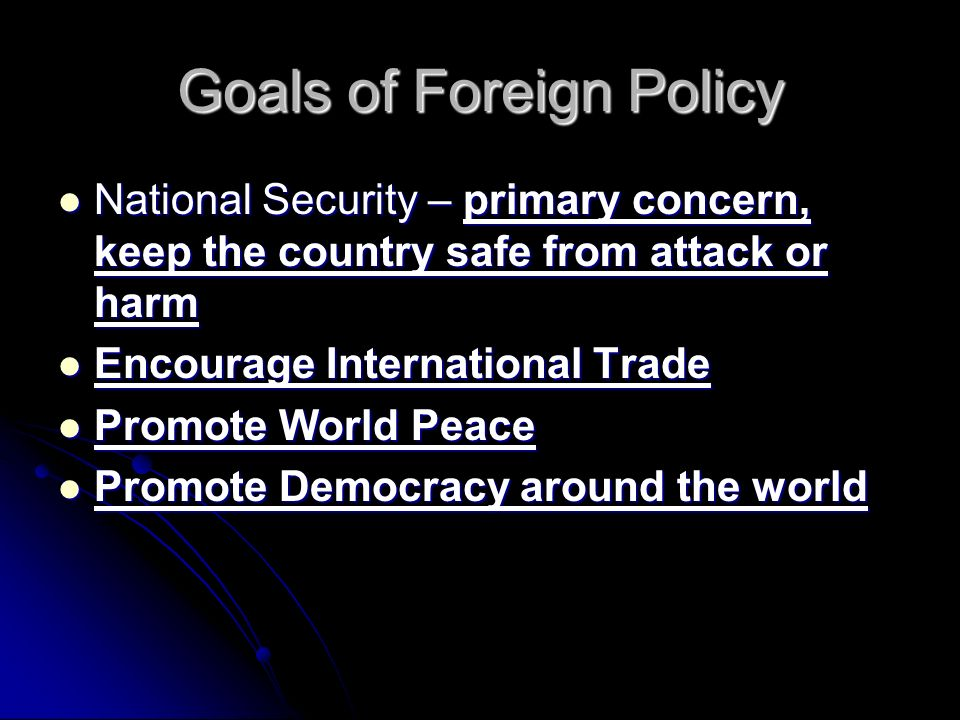 Goals of Foreign Policy National Security – primary concern, keep the country safe from attack or harm National Security – primary concern, keep the country safe from attack or harm Encourage International Trade Encourage International Trade Promote World Peace Promote World Peace Promote Democracy around the world Promote Democracy around the world