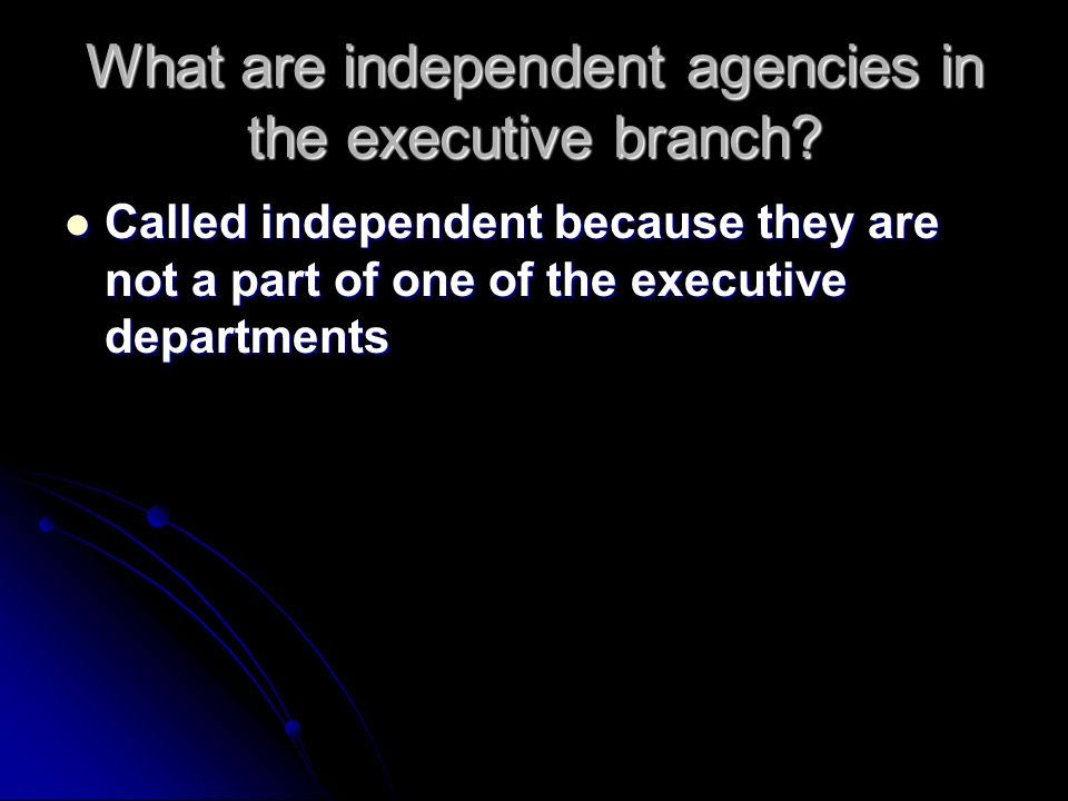 What are independent agencies in the executive branch.