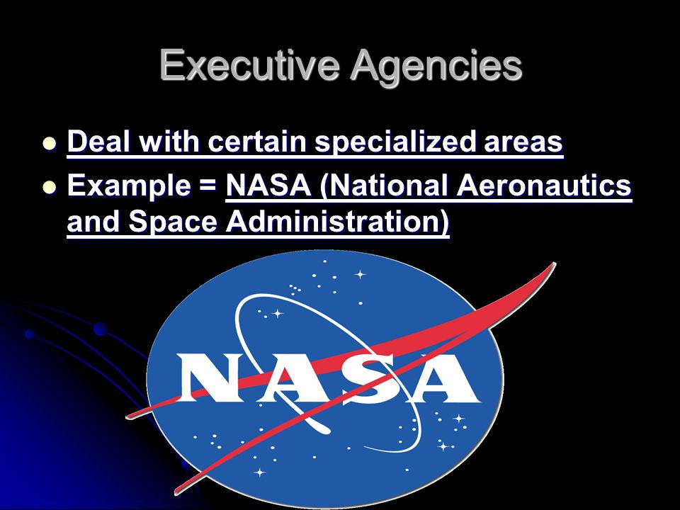 Executive Agencies Deal with certain specialized areas Deal with certain specialized areas Example = NASA (National Aeronautics and Space Administration) Example = NASA (National Aeronautics and Space Administration)
