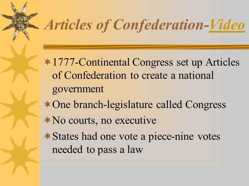Articles of Confederation-VideoVideo  1777-Continental Congress set up Articles of Confederation to create a national government  One branch-legislature called Congress  No courts, no executive  States had one vote a piece-nine votes needed to pass a law
