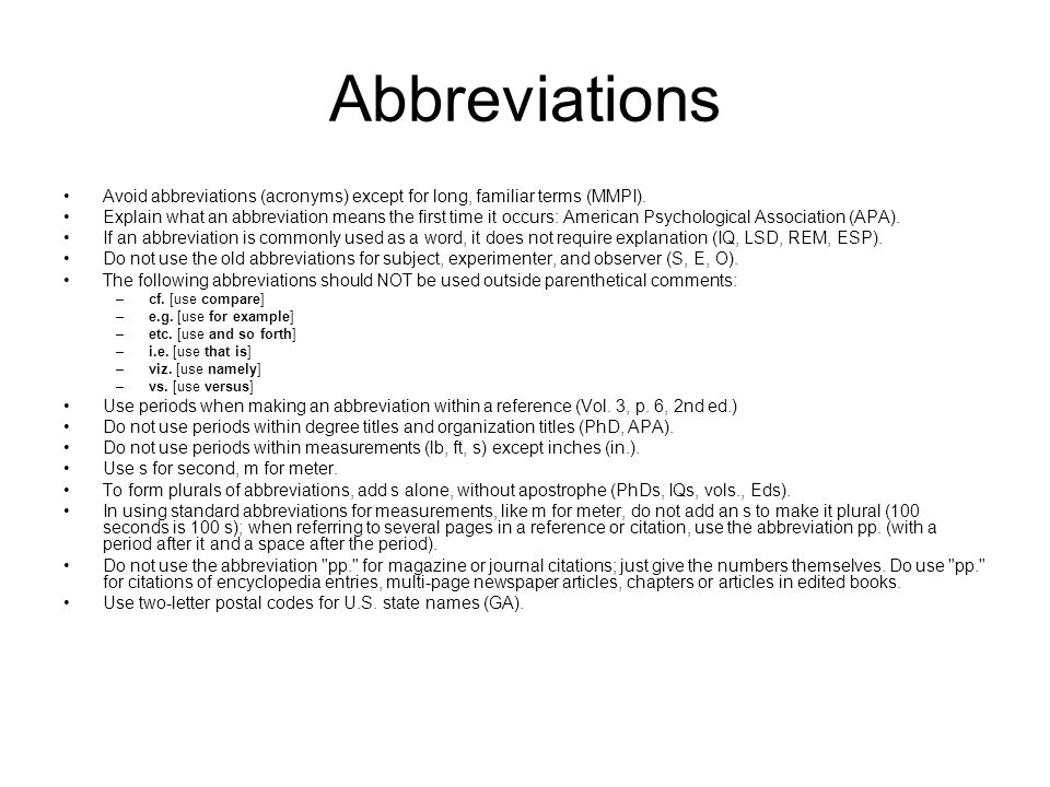 APA style how to define abbreviation?