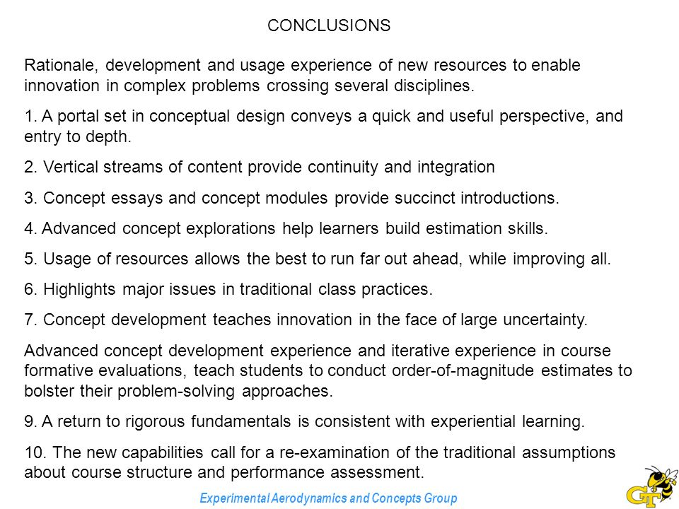 experimental aerodynamics and concepts group the comprehension  experimental aerodynamics and concepts group rationale development and usage experience of new resources to enable