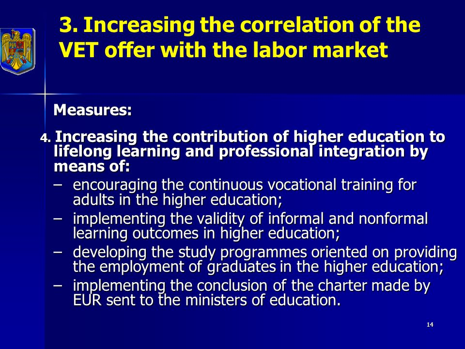 14 3. Increasing the correlation of the VET offer with the labor market Measures: Measures: 4.