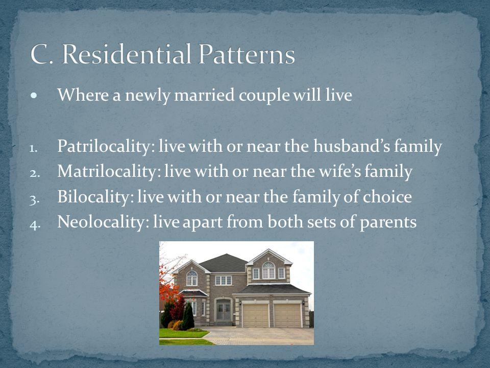 Where a newly married couple will live 1. Patrilocality: live with or near the husband's family 2.