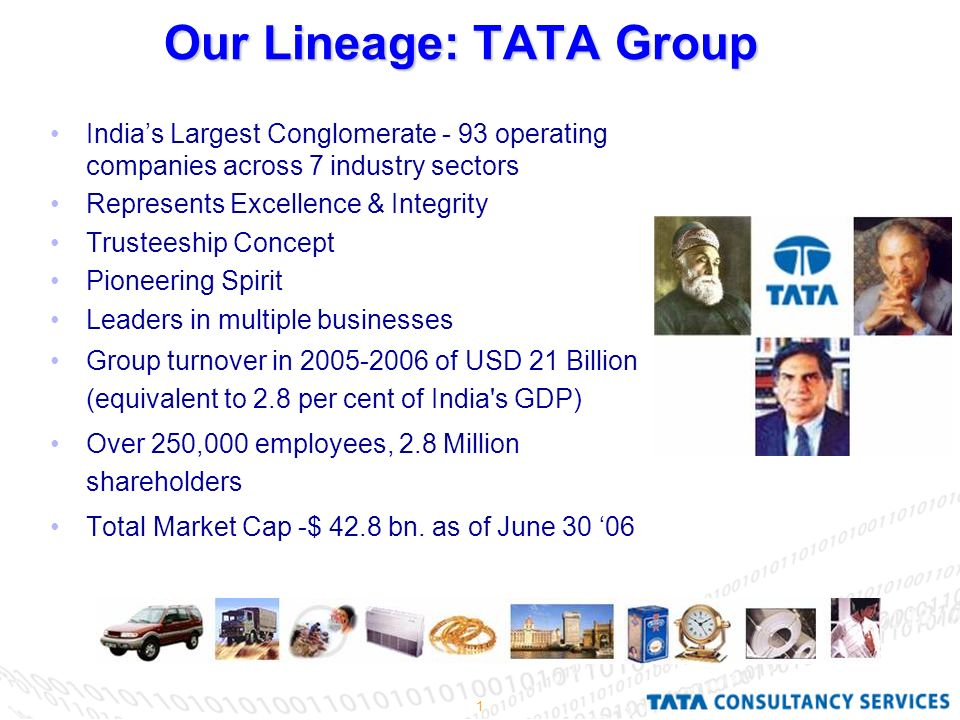 1 Our Lineage: TATA Group India's Largest Conglomerate - 93 operating companies across 7 industry sectors Represents Excellence & Integrity Trusteeship Concept Pioneering Spirit Leaders in multiple businesses Group turnover in of USD 21 Billion (equivalent to 2.8 per cent of India s GDP) Over 250,000 employees, 2.8 Million shareholders Total Market Cap -$ 42.8 bn.