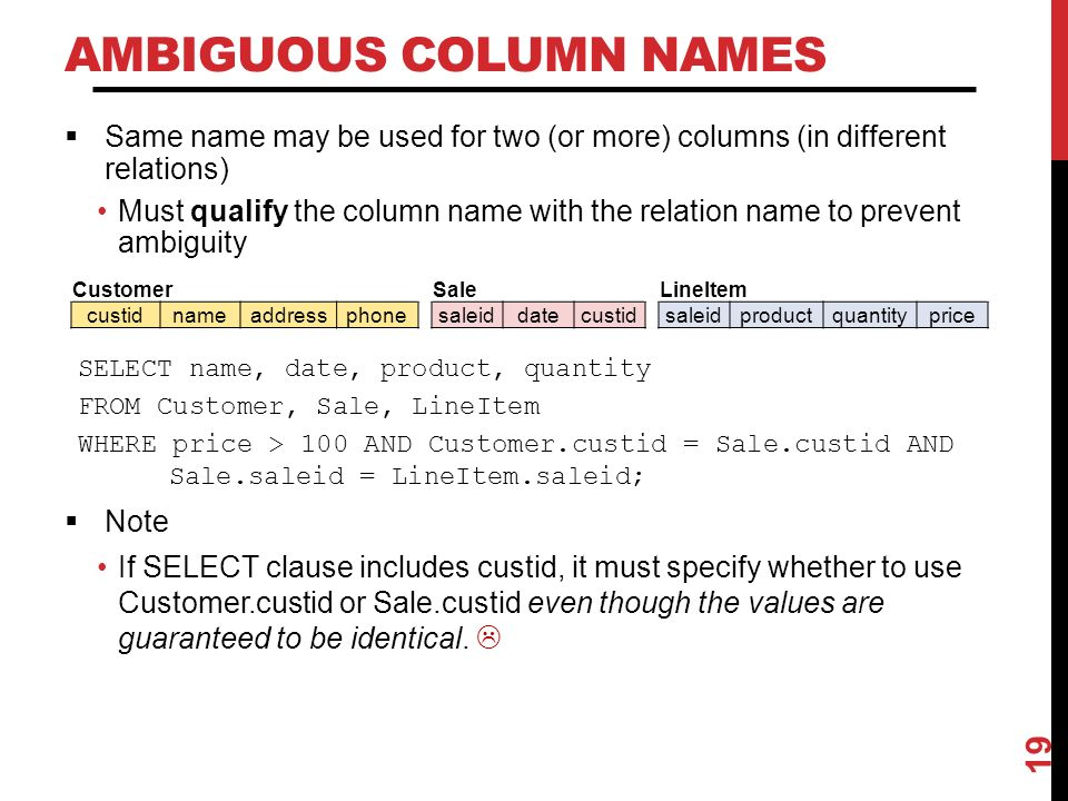 AMBIGUOUS COLUMN NAMES  Same name may be used for two (or more) columns (in different relations) Must qualify the column name with the relation name to prevent ambiguity 19 SELECT name, date, product, quantity FROM Customer, Sale, LineItem WHERE price > 100 AND Customer.custid = Sale.custid AND Sale.saleid = LineItem.saleid;  Note If SELECT clause includes custid, it must specify whether to use Customer.custid or Sale.custid even though the values are guaranteed to be identical.