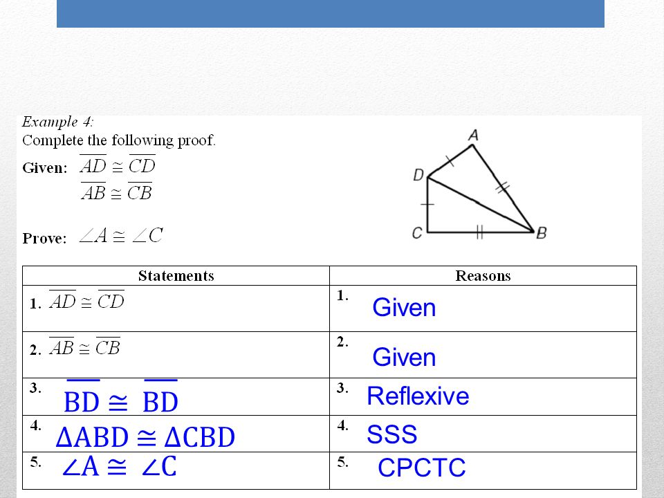 NEVER use SSA to prove triangles are congruent CPCTC – Cpctc Worksheet
