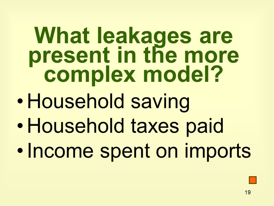 19 What leakages are present in the more complex model.
