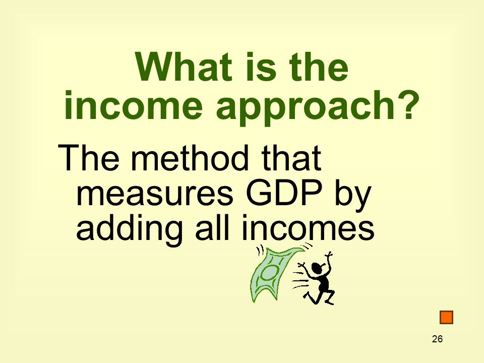 26 What is the income approach The method that measures GDP by adding all incomes
