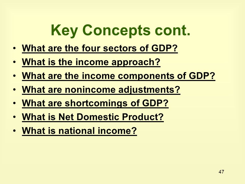 47 Key Concepts cont. What are the four sectors of GDP.