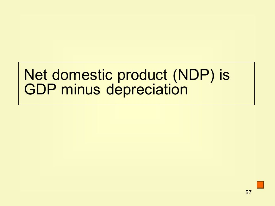 57 Net domestic product (NDP) is GDP minus depreciation