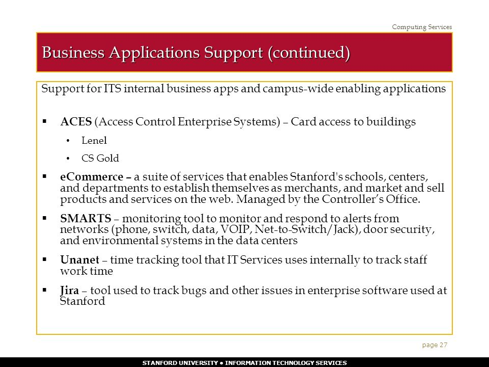 STANFORD UNIVERSITY INFORMATION TECHNOLOGY SERVICES 1 The ...