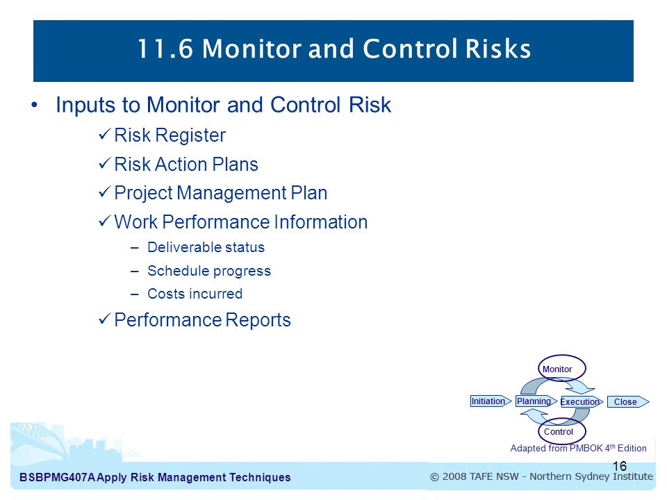 BSBPMG407A Apply Risk Management Techniques 1 Apply Risk ...