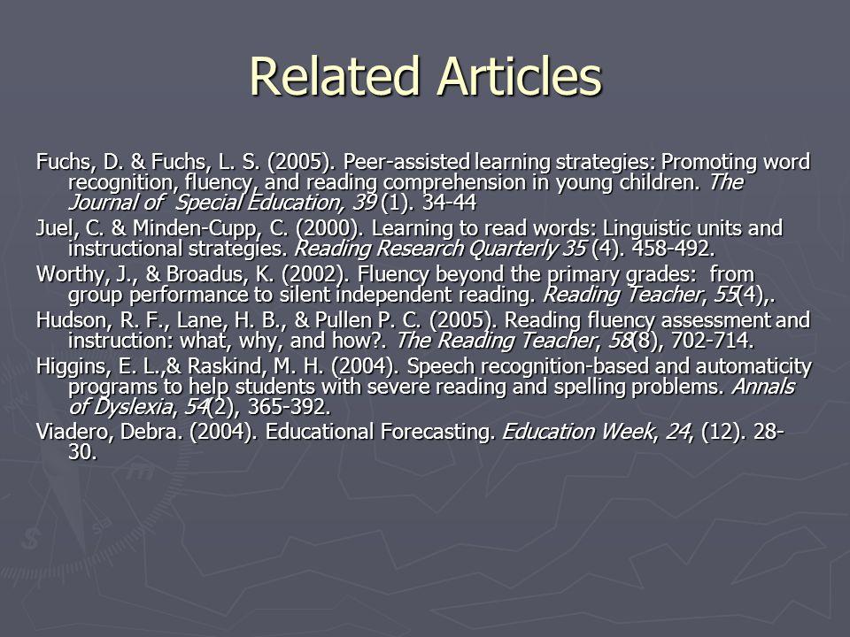 Related Articles Fuchs, D. & Fuchs, L. S. (2005).