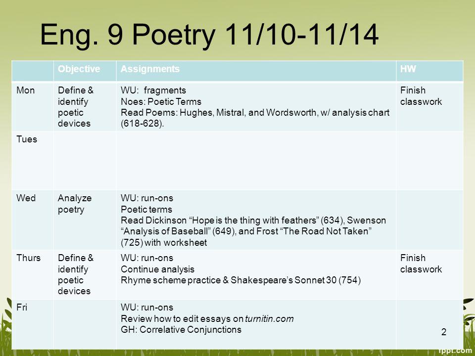 English 9 Unit 3 Week 2 Poetry 1 Eng 9 Poetry 11101114 – The Road Not Taken Worksheet