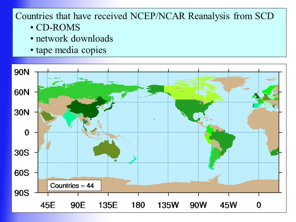 Countries that have received NCEP/NCAR Reanalysis from SCD CD-ROMS network downloads tape media copies