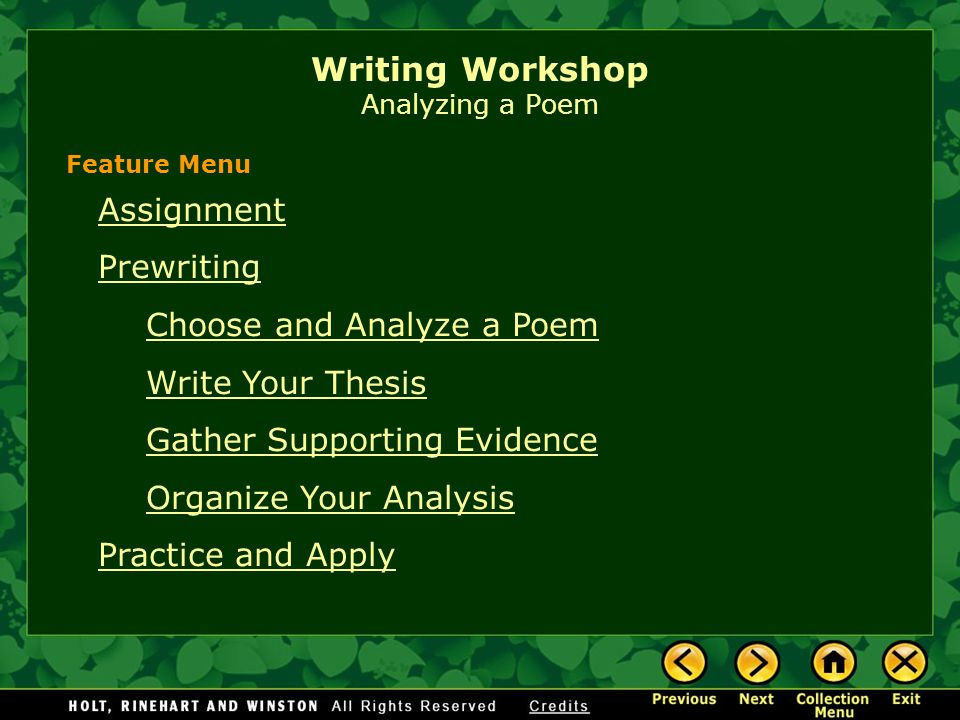 essay assignments poetry Poetry analysis essay assignment introduction one of the most important skills a burgeoning college-level writer must accomplish is the art of analysis being able to.