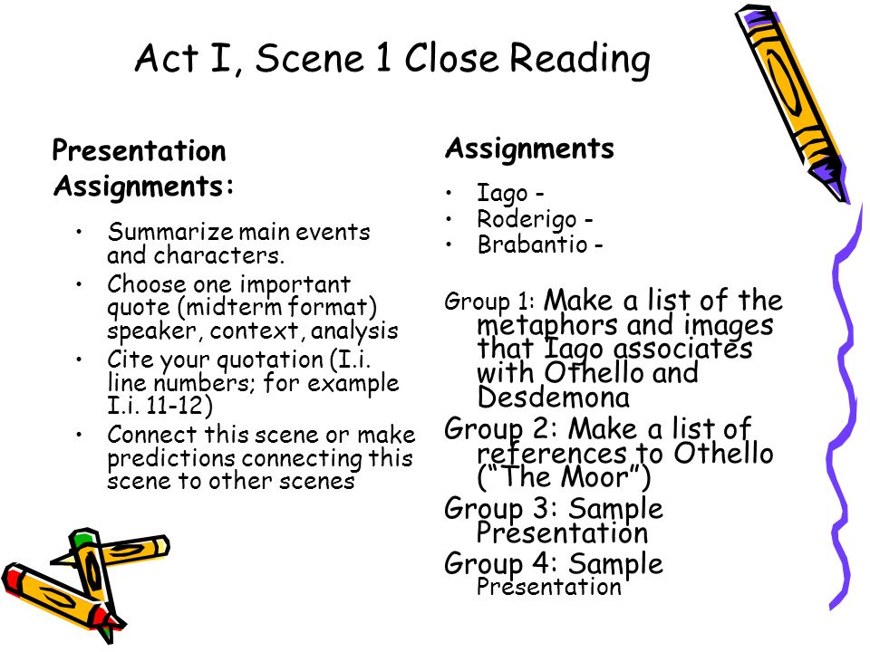 Act I, Scene 1 Close Reading Presentation Assignments: Summarize main events and characters.