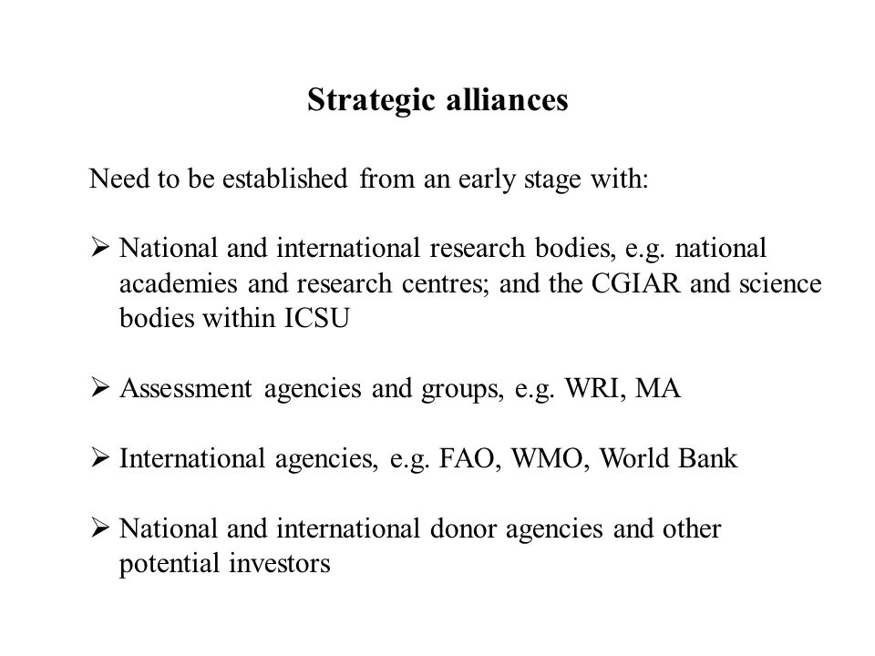 Strategic alliances Need to be established from an early stage with:  National and international research bodies, e.g.