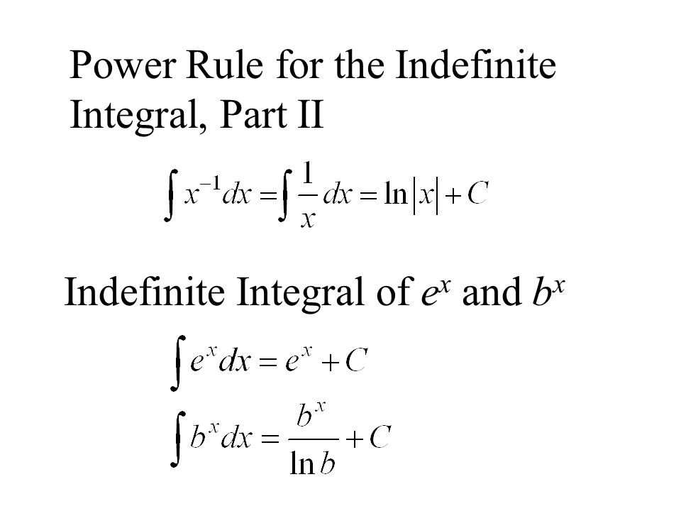 Power Rule for the Indefinite Integral, Part II Indefinite Integral of e x and b x
