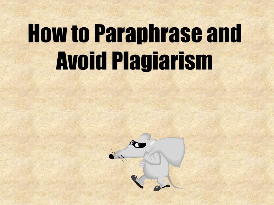 Define paraphrasing plagiarism