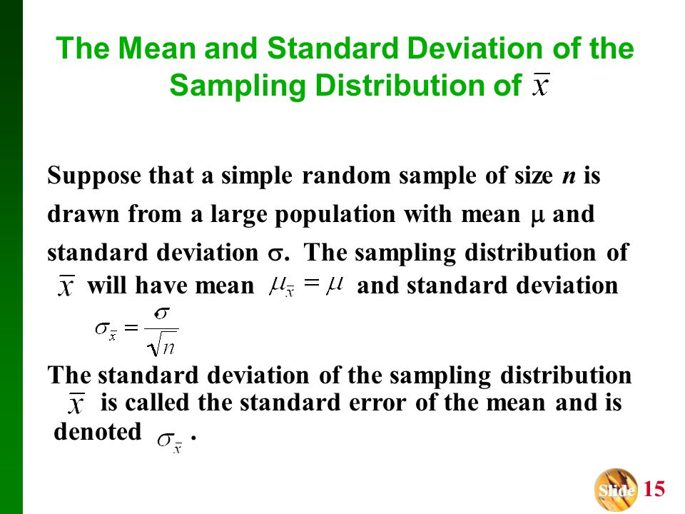 Slide Slide 1 Chapter 8 Sampling Distributions Mean and Proportion ...