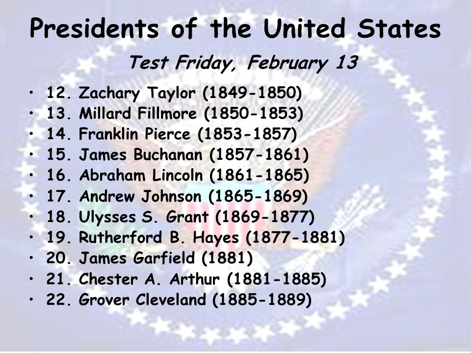 Presidents of the United States Test Friday, February