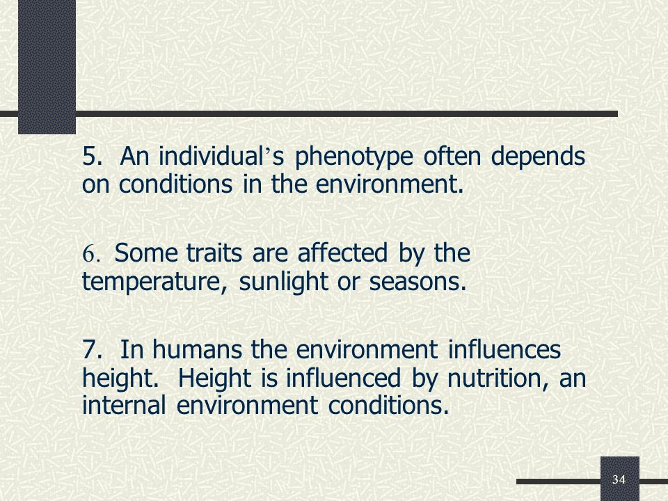 34 5. An individual ' s phenotype often depends on conditions in the environment.