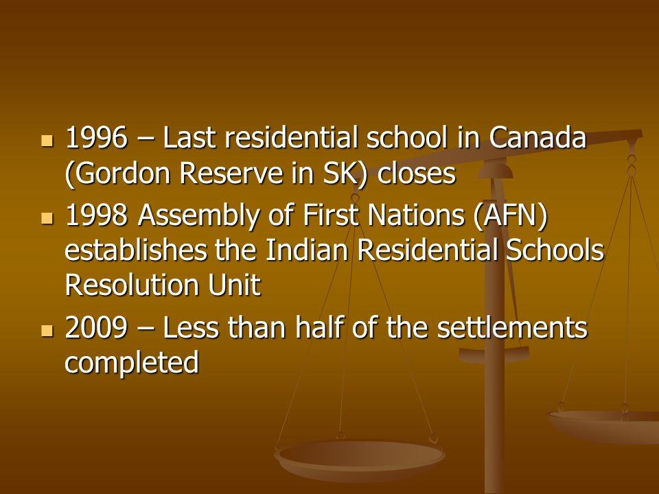 1996 – Last residential school in Canada (Gordon Reserve in SK) closes 1996 – Last residential school in Canada (Gordon Reserve in SK) closes 1998 Assembly of First Nations (AFN) establishes the Indian Residential Schools Resolution Unit 1998 Assembly of First Nations (AFN) establishes the Indian Residential Schools Resolution Unit 2009 – Less than half of the settlements completed 2009 – Less than half of the settlements completed