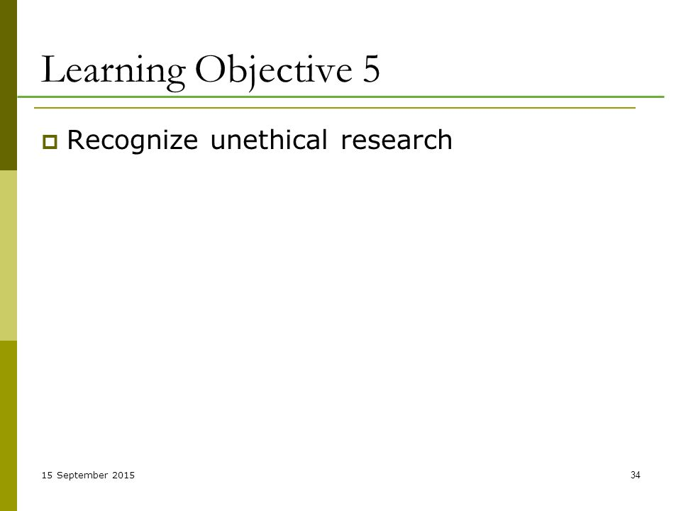 15 September Learning Objective 5  Recognize unethical research