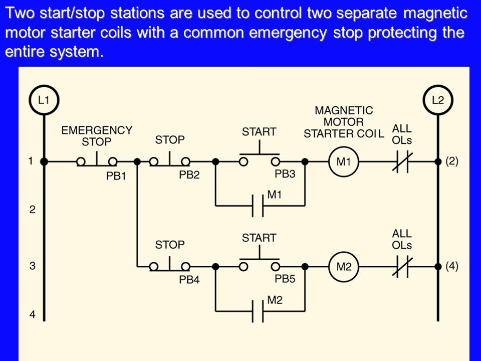a three-wire start/stop circuit with multiple start/stop push, Wiring diagram