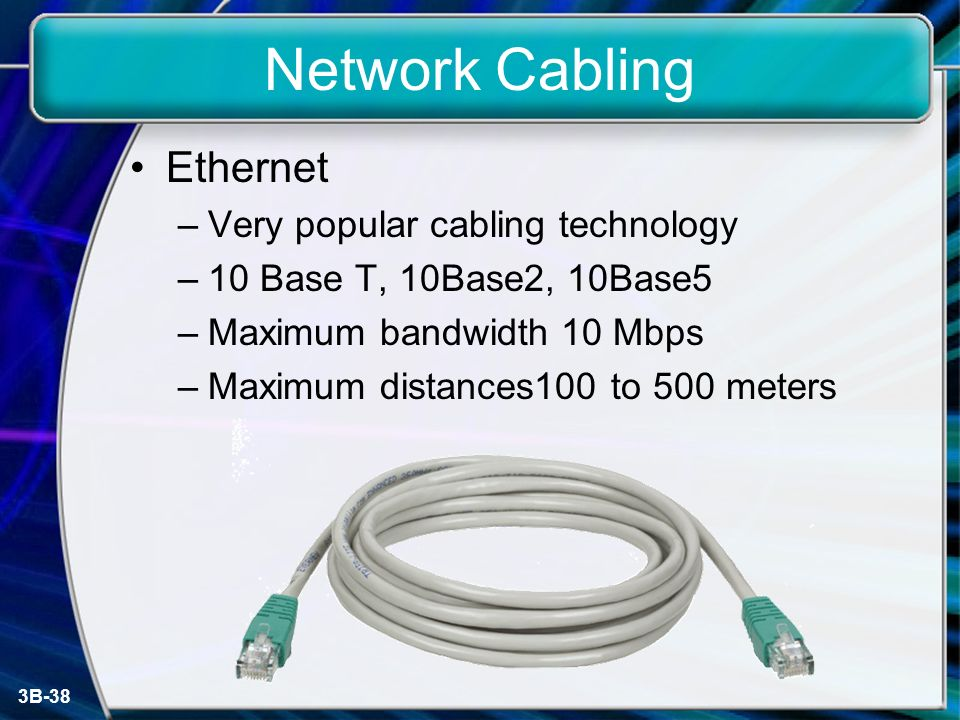3B-38 Network Cabling Ethernet –Very popular cabling technology –10 Base T, 10Base2, 10Base5 –Maximum bandwidth 10 Mbps –Maximum distances100 to 500 meters