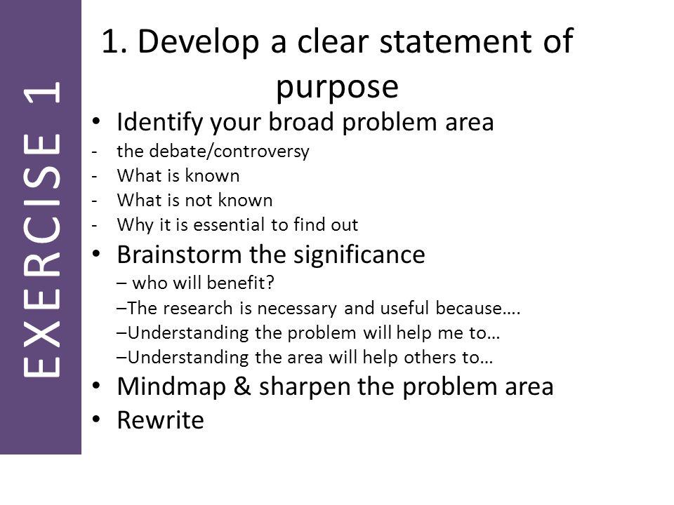 Developing a purpose statement