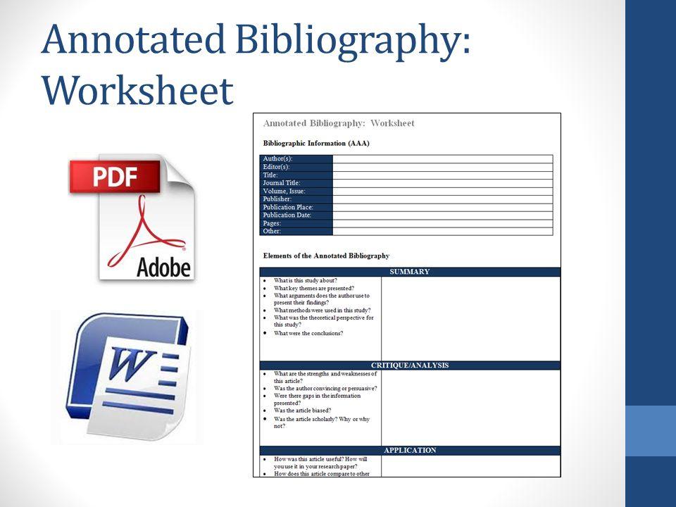 Annotated Bibliographies Anthropology 218 Suzanne van den Hoogen – Annotated Bibliography Worksheet