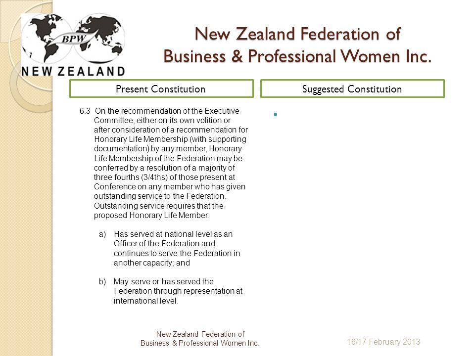 16/17 February 2013 New Zealand Federation of Business & Professional Women Inc.