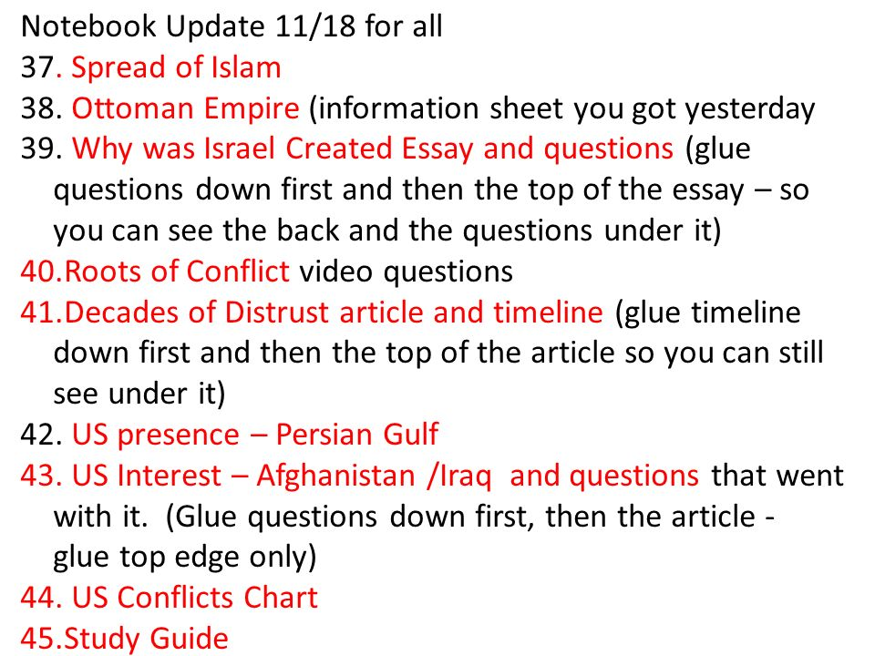 Notebook Update 11/18 for all 37. Spread of Islam 38.