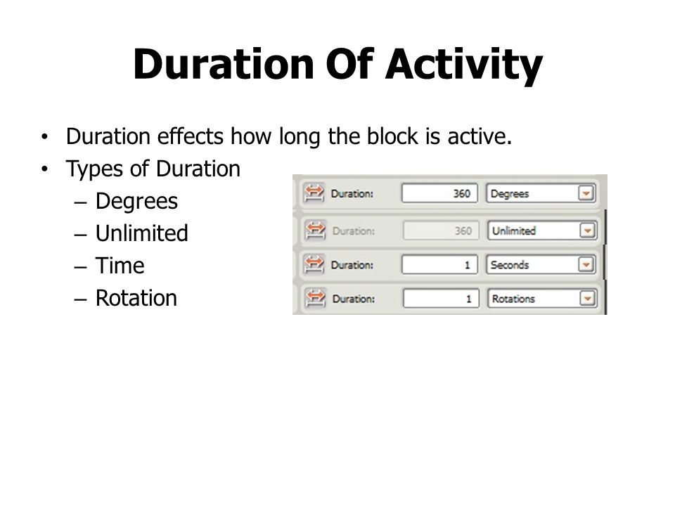 Duration Of Activity Duration effects how long the block is active.