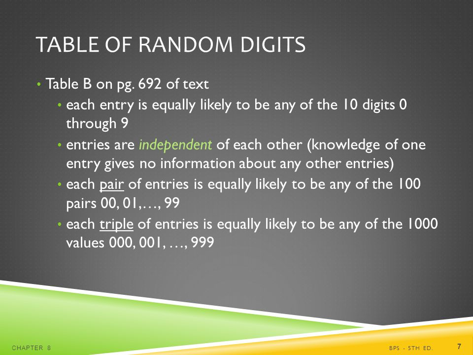 TABLE OF RANDOM DIGITS Table B on pg.