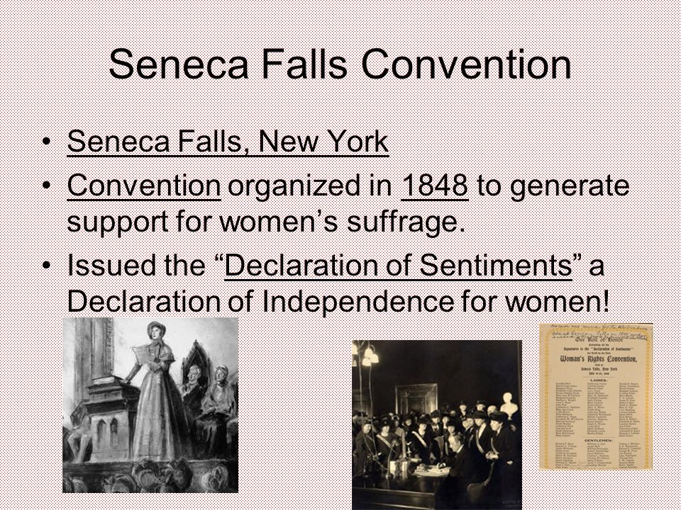 Seneca Falls Convention Seneca Falls, New York Convention organized in 1848 to generate support for women's suffrage.