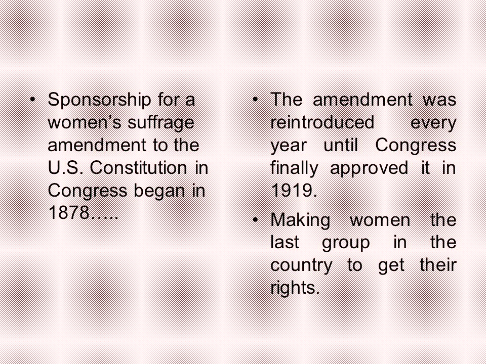 Sponsorship for a women's suffrage amendment to the U.S.