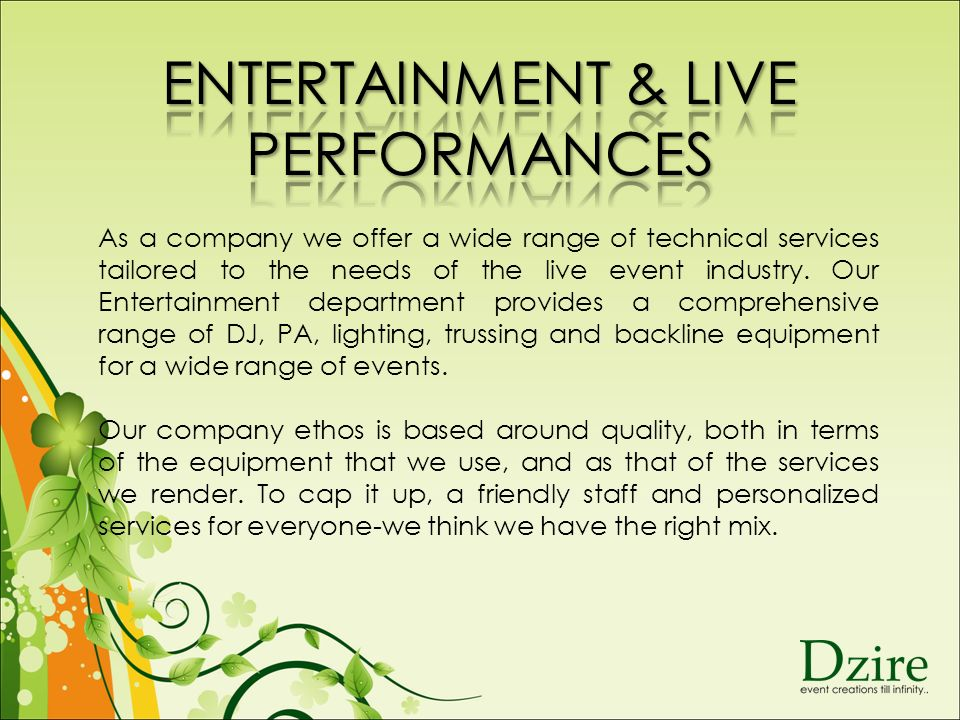 As a company we offer a wide range of technical services tailored to the needs of the live event industry.
