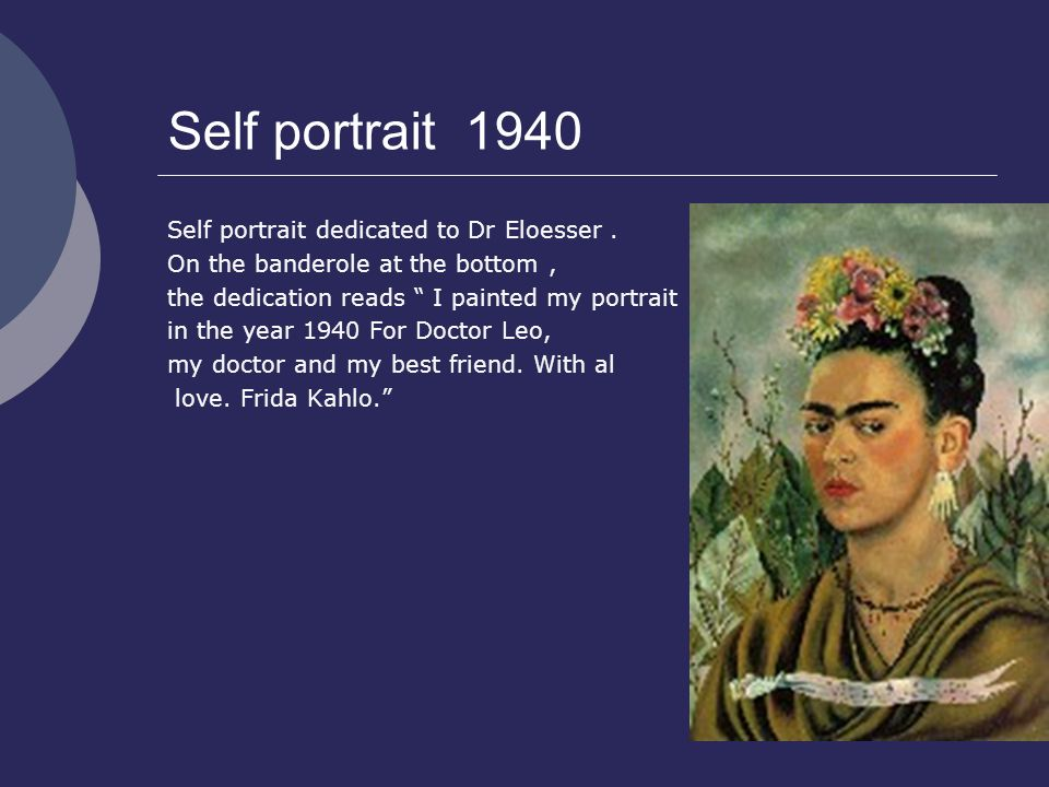 Self portrait 1940 Self portrait dedicated to Dr Eloesser.