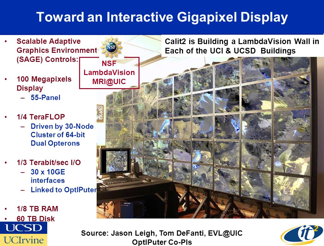 Toward an Interactive Gigapixel Display Scalable Adaptive Graphics Environment (SAGE) Controls: 100 Megapixels Display –55-Panel 1/4 TeraFLOP –Driven by 30-Node Cluster of 64-bit Dual Opterons 1/3 Terabit/sec I/O –30 x 10GE interfaces –Linked to OptIPuter 1/8 TB RAM 60 TB Disk Source: Jason Leigh, Tom DeFanti, EVL@UIC OptIPuter Co-PIs NSF LambdaVision MRI@UIC Calit2 is Building a LambdaVision Wall in Each of the UCI & UCSD Buildings