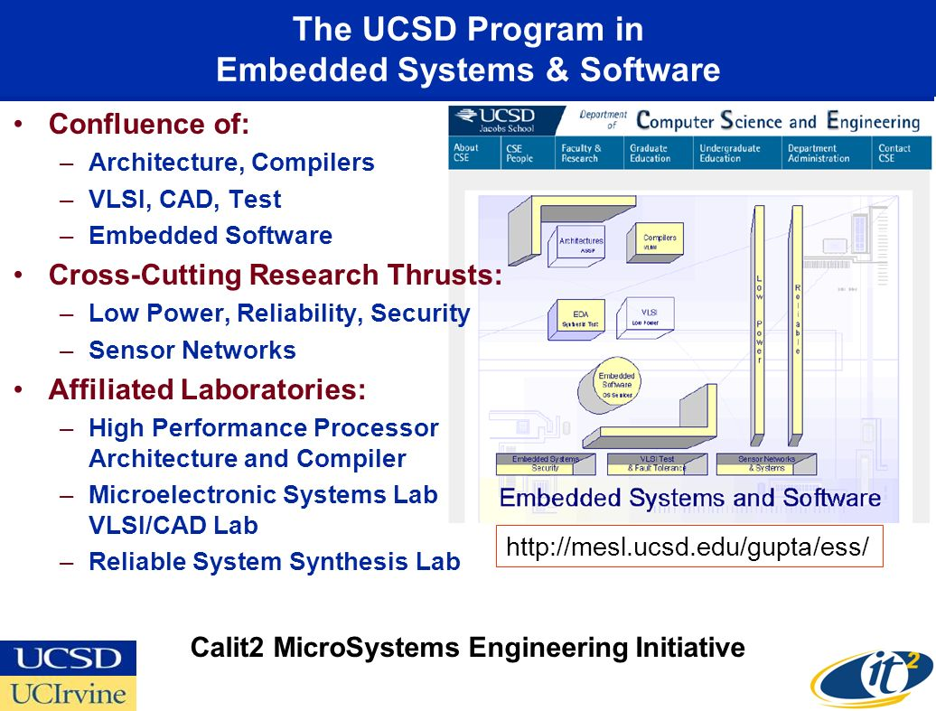 The UCSD Program in Embedded Systems & Software Confluence of: –Architecture, Compilers –VLSI, CAD, Test –Embedded Software Cross-Cutting Research Thrusts: –Low Power, Reliability, Security –Sensor Networks Affiliated Laboratories: –High Performance Processor Architecture and Compiler –Microelectronic Systems Lab VLSI/CAD Lab –Reliable System Synthesis Lab   Calit2 MicroSystems Engineering Initiative